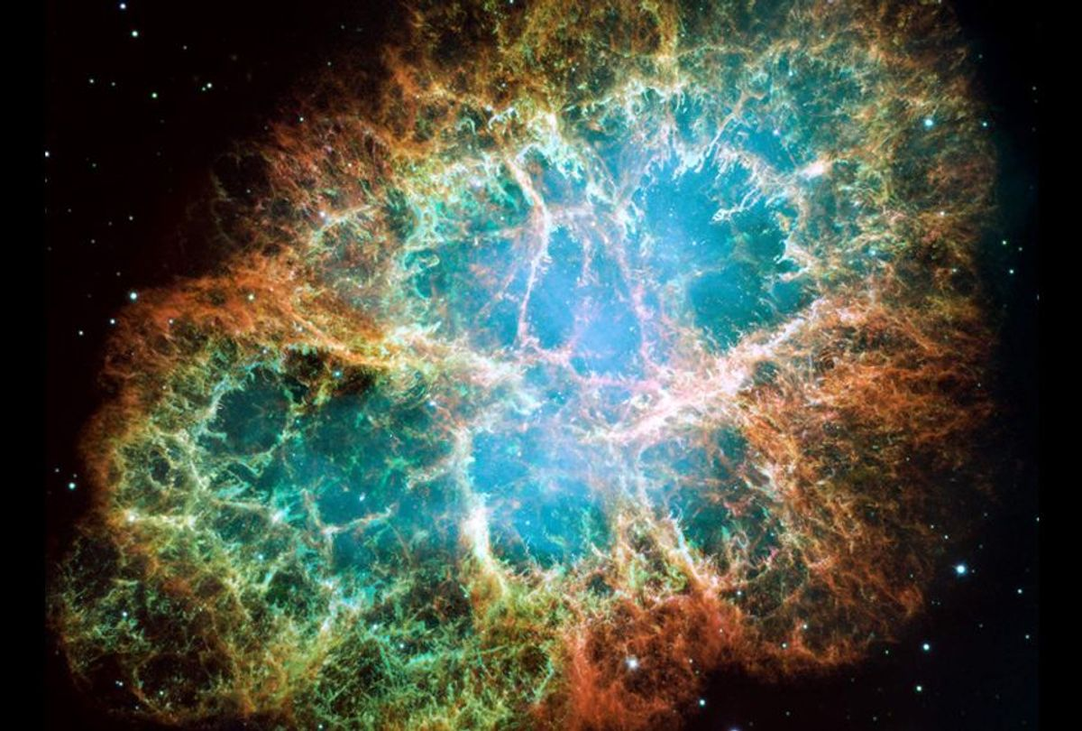 This image from NASA's Hubble Space Telescope shows the Crab Nebula, the remnant of a supernova explosion with a rapidly spinning neutron star embedded in its center. In October 2017, astronomers detected the merger of two neutron stars some 130 million light-years away. (Getty/NASA)