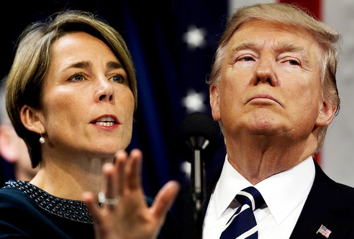 Maura Healey; Donald Trump (Getty/Drew Angerer/AP/Jim Lo Scalzo/Photo montage by Salon)