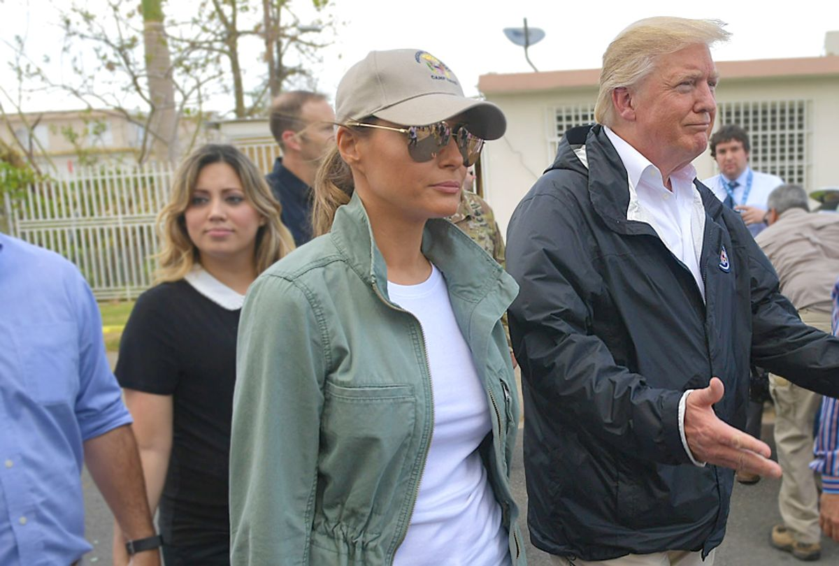 Donald Trump and Melania Trump visit residents affected by Hurricane Maria in Puerto Rico. (Getty/Mandel Ngan)