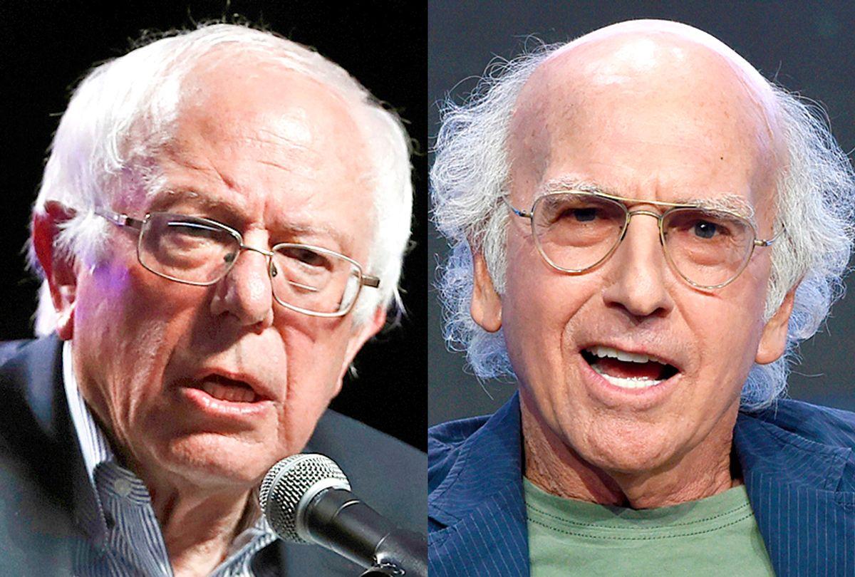 Bernie Sanders; Larry David (AP/Charlie Neibergall/Chris Pizzello)