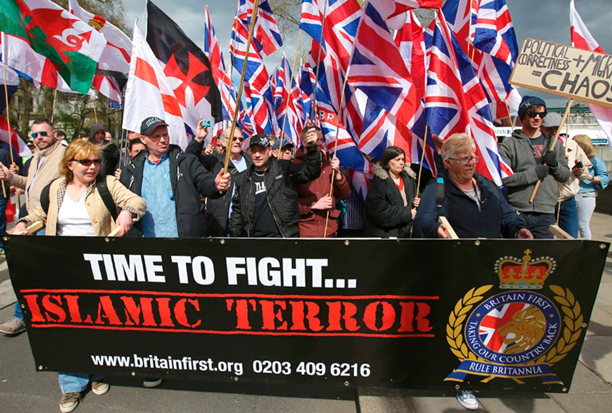 Members of the far-right group Britain First march (Getty/Daniel Leal-Olivas)