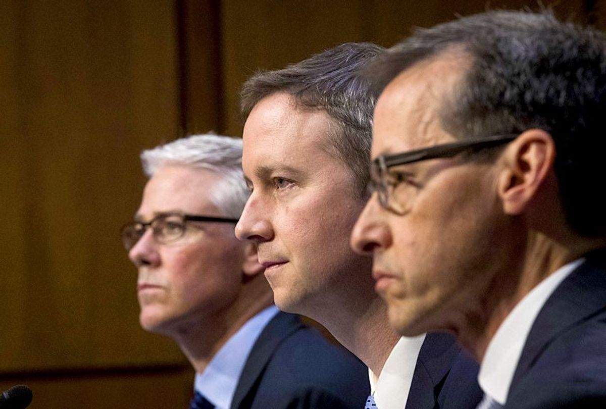 Colin Stretch, general counsel at Facebook, Sean Edgett, acting general counsel at Twitter, and Richard Salgado, director of law enforcement and information security at Google, testify.  (Google/Drew Angerer)