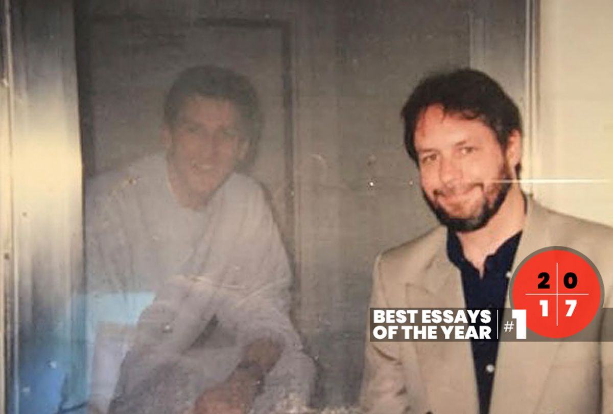 The author's father, Randall Coyne, visiting Timothy McVeigh at the Denver courthouse during the trial. (Courtesy of the author)