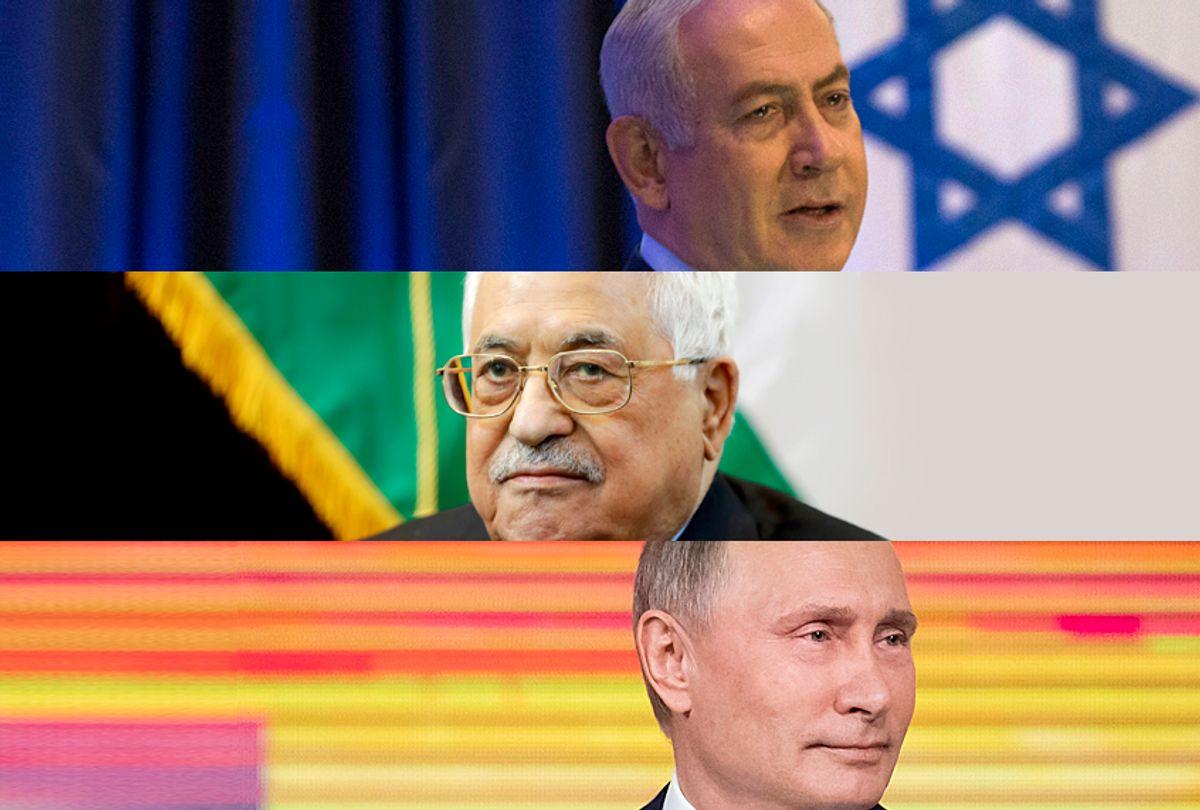 Benjamin Netanyahu; Mahmoud Abbas; Vladimir Putin (AP/Salon)