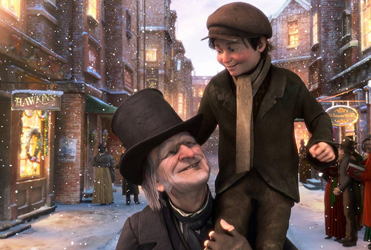 "Jim Carrey as Ebenezer Scrooge and Gary Oldman as Tiny Tim in ""A Christmas Carol"" (Walt Disney Studios Motion Pictures)"