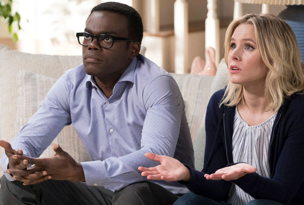 """William Jackson Harper and Kristen Bell in """"The Good Place"""" (NBC/Colleen Hayes)"""