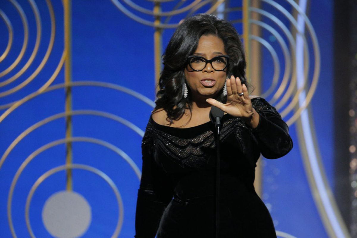 Oprah Winfrey accepts the Cecil B. DeMille Award at the 75th Golden Globe Awards (Paul Drinkwater/NBC)