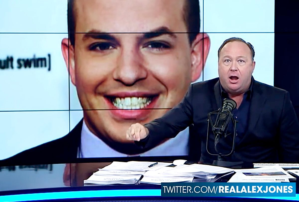 """Brian Stelter pictured on """"Infowars"""" with Alex Jones (YouTube/The Alex Jones Channel)"""