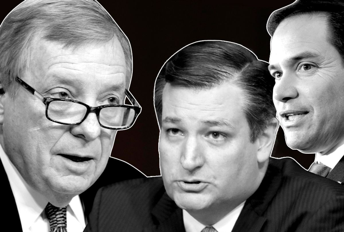 Dick Durbin; Ted Cruz; Marco Rubio (AP/Salon)