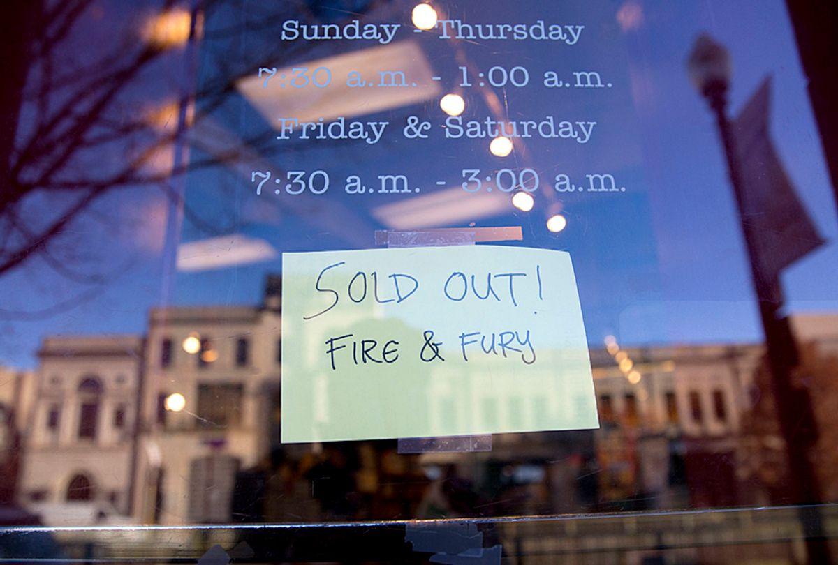"""Sign showing that the book """"Fire and Fury: Inside the Trump White House"""" is sold out at a bookstore  (AP/Pablo Martinez Monsivais)"""