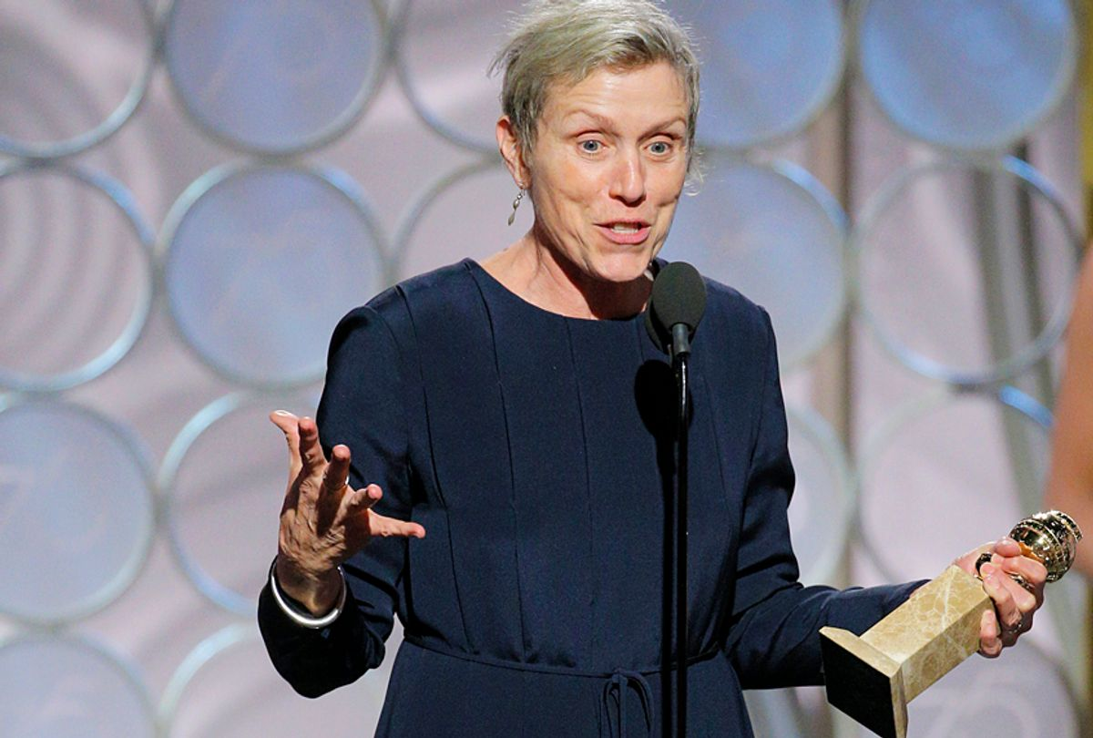 """Frances McDormand accepts the award for Best Performance by an Actress in a Motion Picture – Drama for """"Three Billboards Outside Ebbing, Missouri""""  during the 75th Annual Golden Globe Awards (Getty/Paul Drinkwater)"""