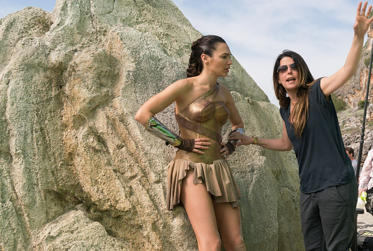 """Gal Gadot and Patty Jenkins on the set of """"Wonder Woman"""" (Warner Bros. Pictures/Clay Enos)"""