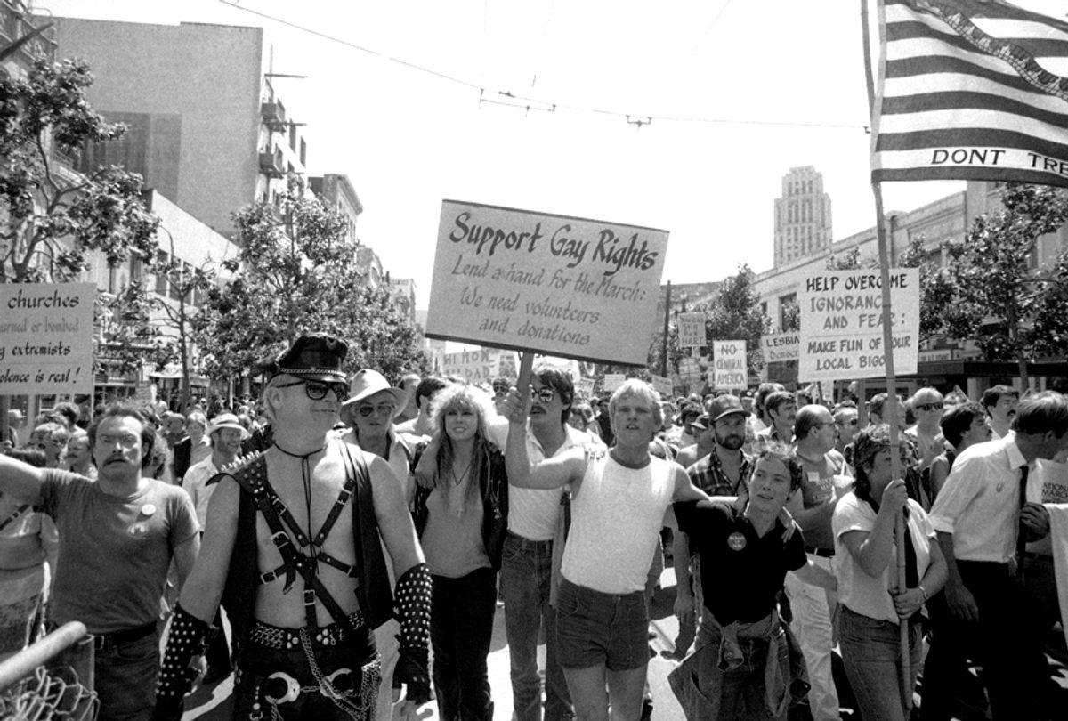 Demonstrators participate in gay rights protest in San Francisco, July 15, 1984 (AP/Joe Skipper)