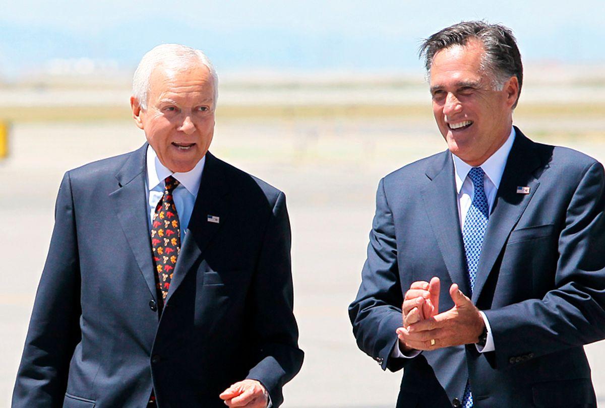 Orrin Hatch; Mitt Romney (AP/Colin E. Braley)