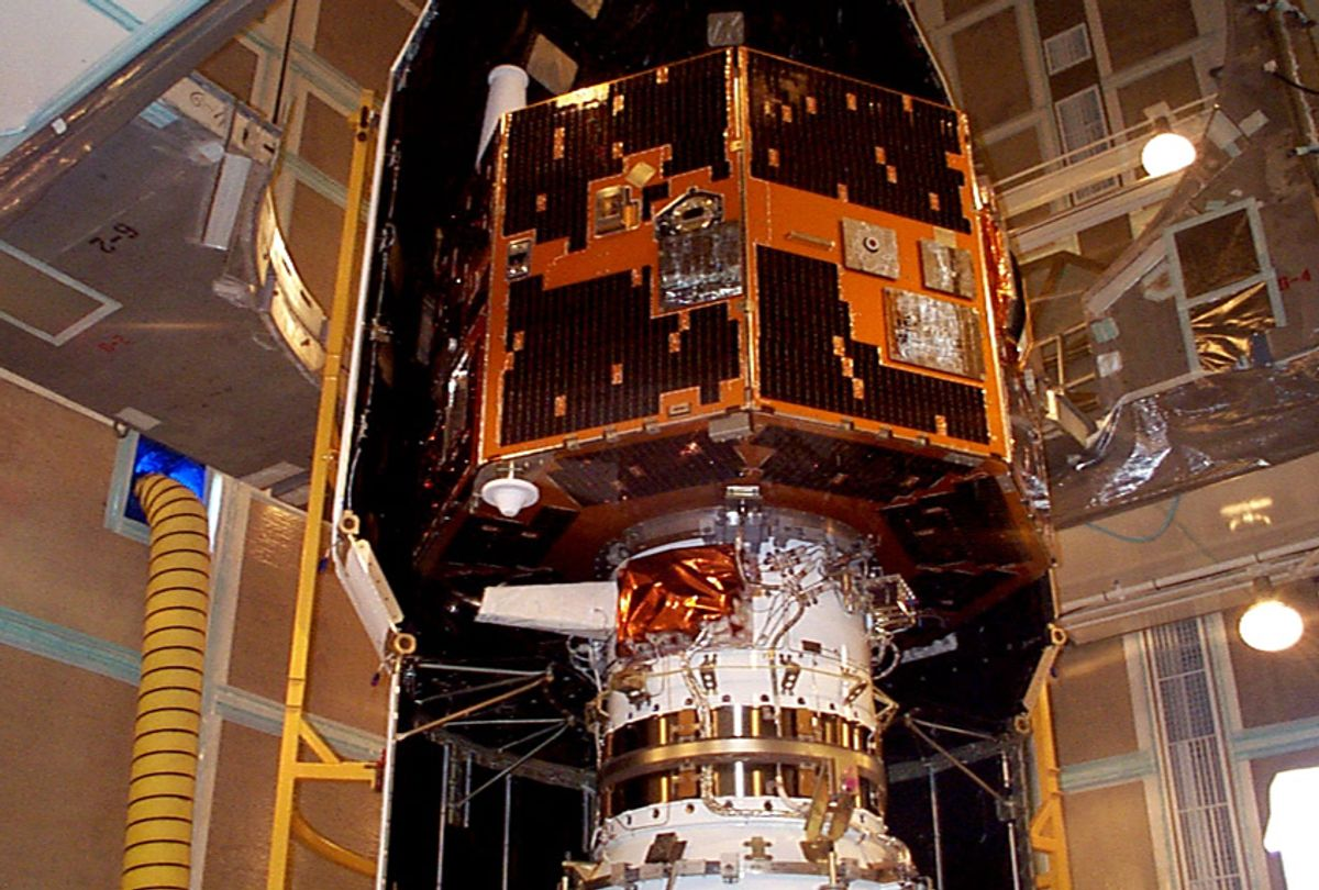 The IMAGE spacecraft undergoing launch preparations in early 2000. (NASA)