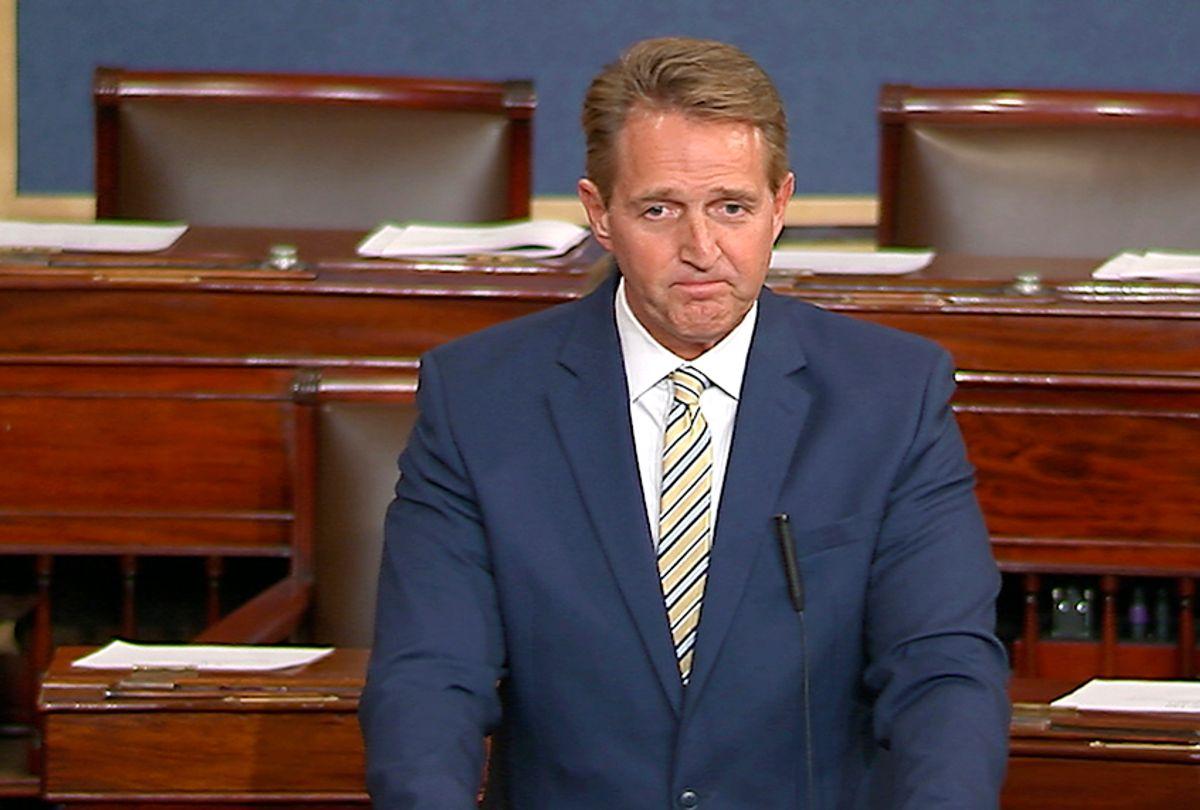 Jeff Flake speaks on the Senate floor, Jan. 17, 2017 (Senate TV via AP)
