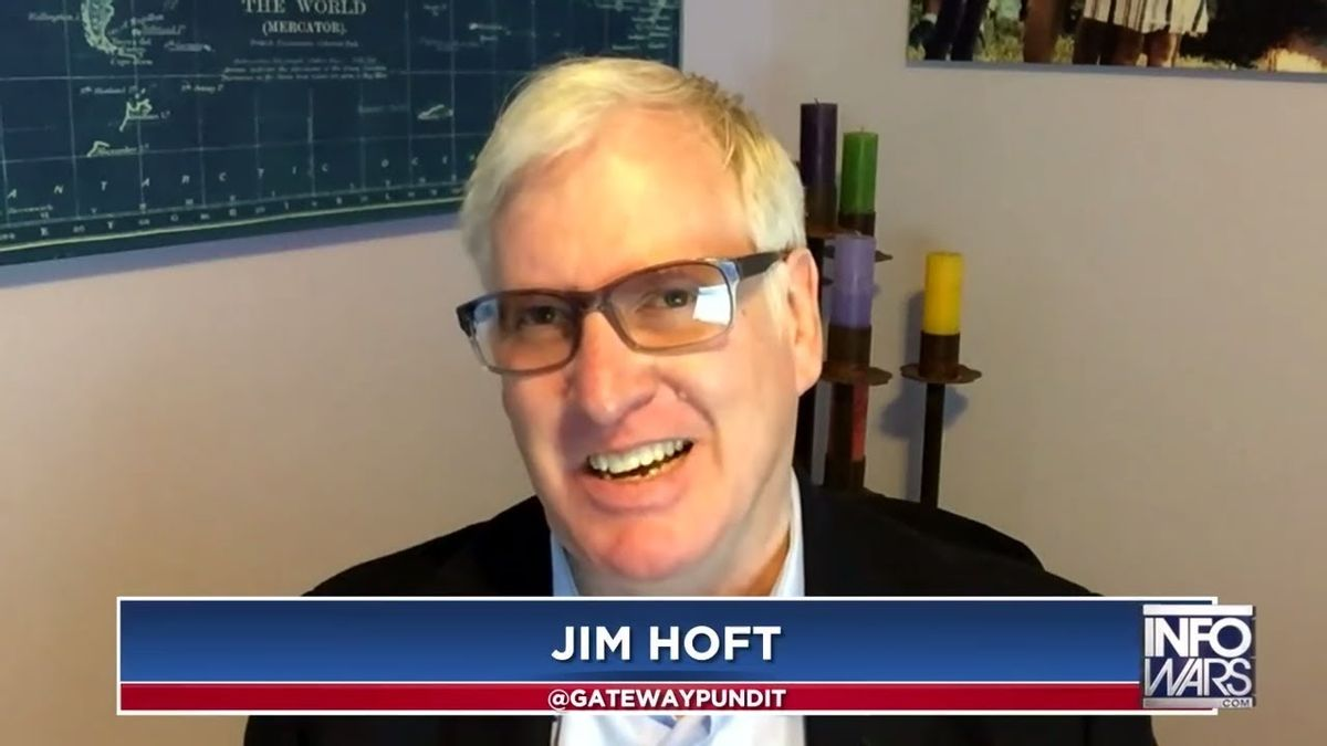 Jim Hoft, the founder of the far-right website Gateway Pundit, makes an appearance on a web show of the conspiracy site Infowars (Screenshot)