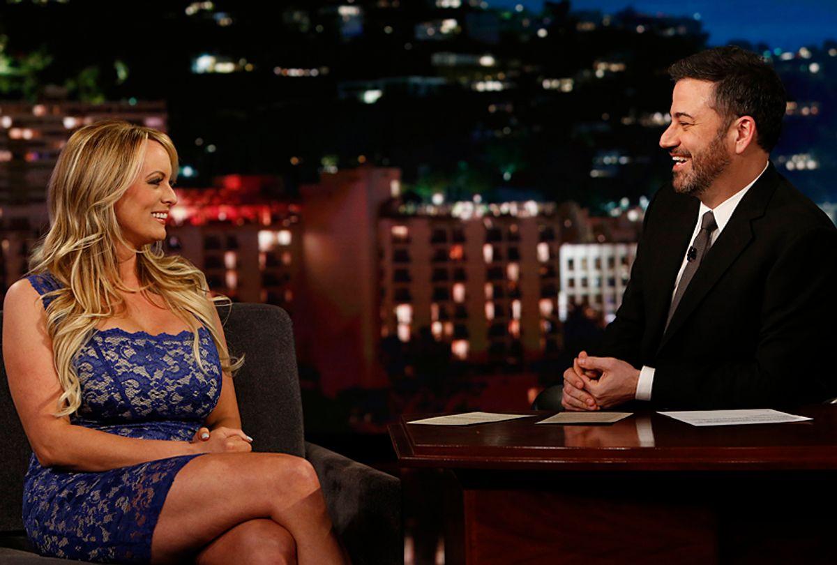 "Stormy Daniels and Jimmy Kimmel on ""Jimmy Kimmel Live!"" (ABC/Randy Holmes)"