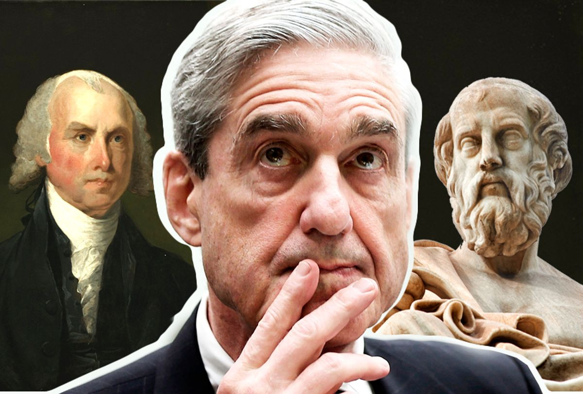 James Madison; Robert Mueller; Plato (Getty/Wikimedia/Shutterstock/Salon)