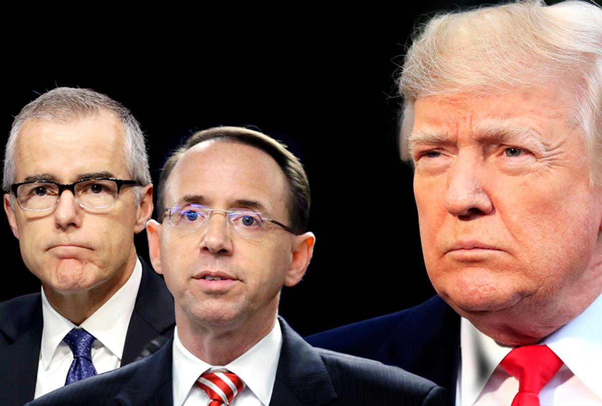 Andrew McCabe; Rod Rosenstein; Donald Trump (AP/Salon)