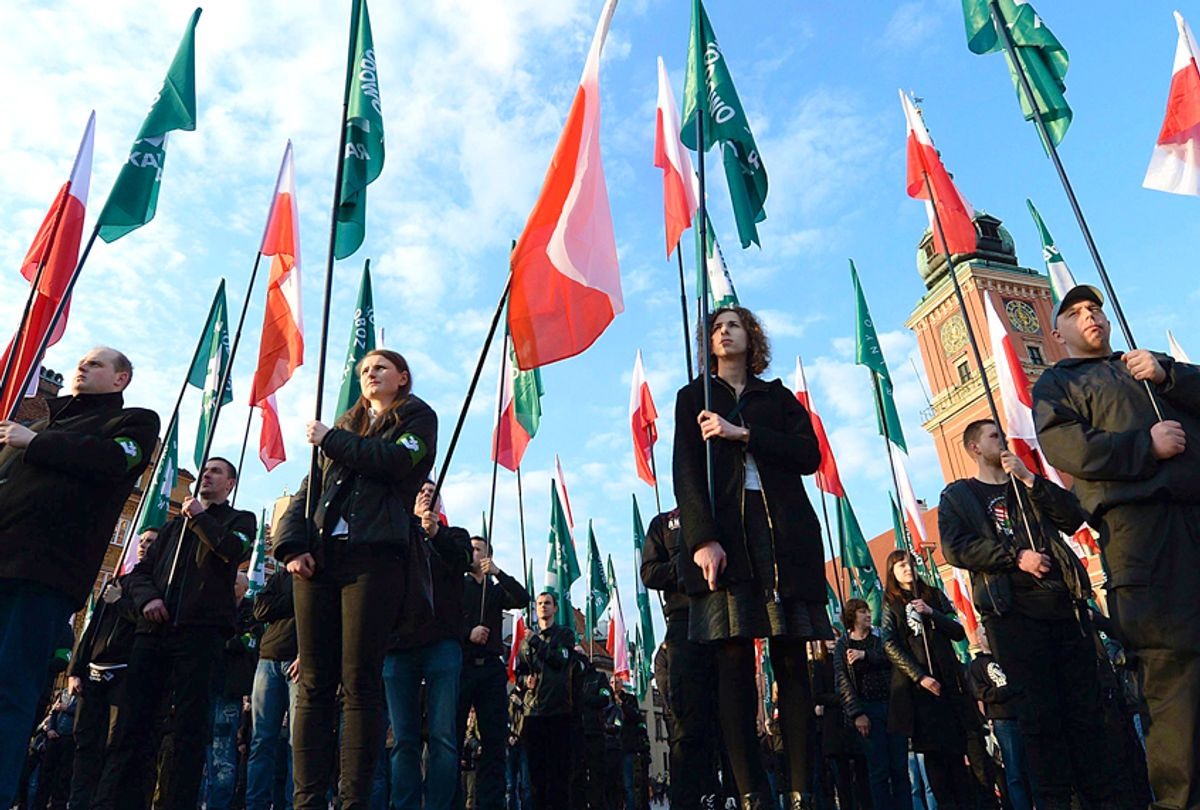 Members of the far-right group, the National-Radical Camp, marking the 83rd anniversary of their organization, in Warsaw, Poland. (AP/Czarek Sokolowski)