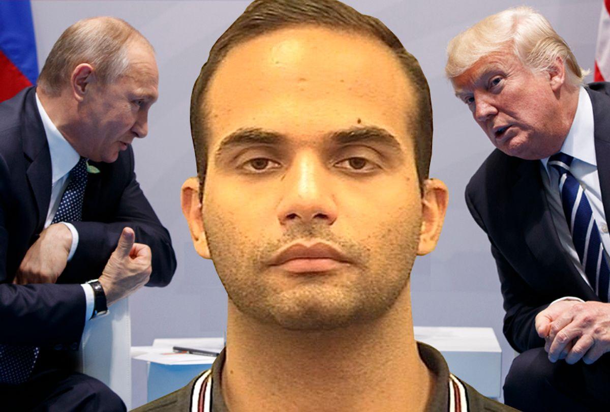 Vladimir Putin; George Papadopoulos; Donald Trump (AP/Evan Vucci/Alexandria Sheriff's Office/Salon)