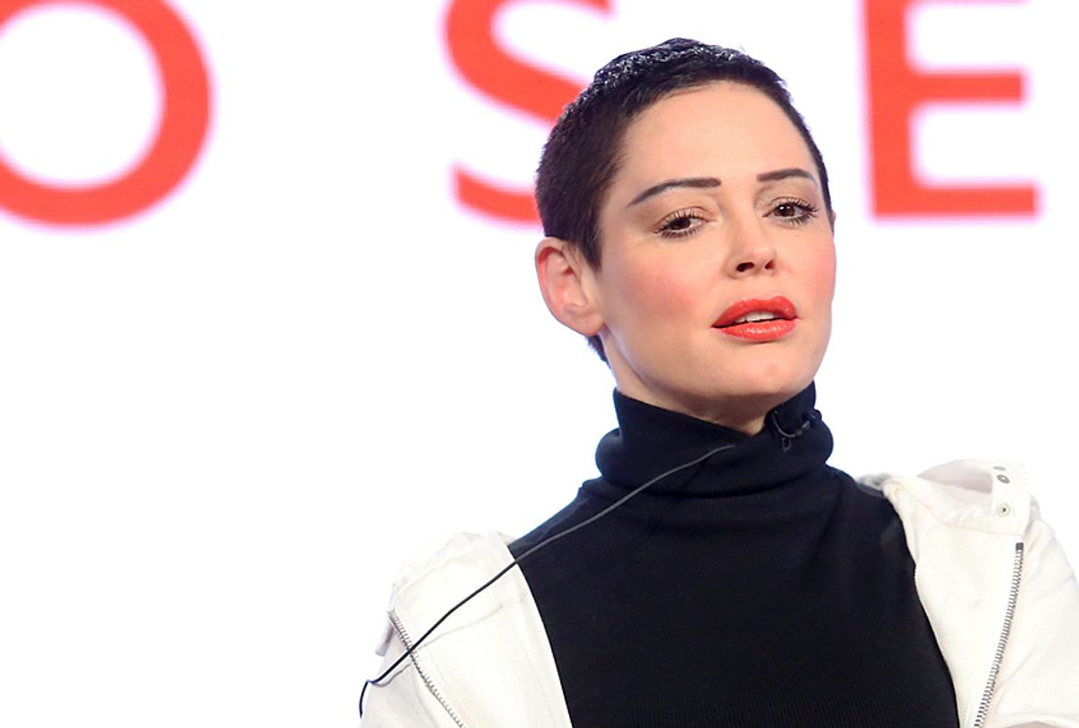 """Rose McGowan participates in the """"Citizen Rose"""" panel during the NBCUniversal   2018 Winter Television Critics Association Press Tour (Getty/Frederick M. Brown)"""