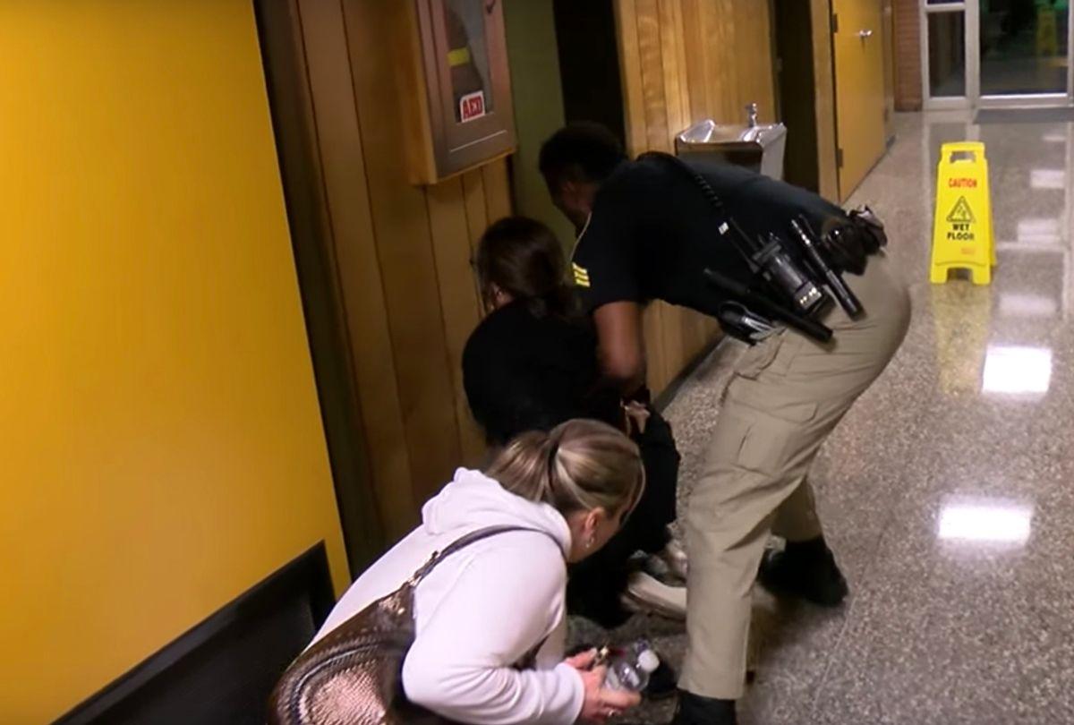 Deyshia Hargrave being arrested. (YouTube)