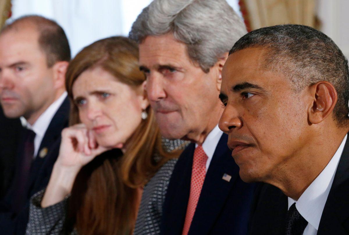 "President Barack Obama; Deputy National Security Adviser Ben Rhodes; U.S. Ambassador to the U.N. Samantha Power; Secretary of State John Kerry in ""The Final Year"" (Magnolia Pictures/Reuters)"
