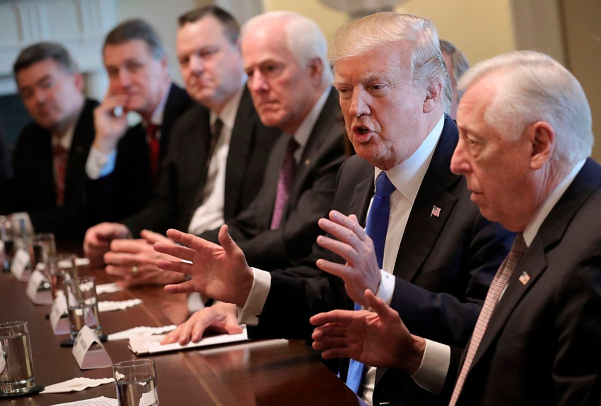 Donald Trump presides over a meeting about immigration with Republican and Democrat members of Congress, January 8, 2018. (Getty/Chip Somodevilla)