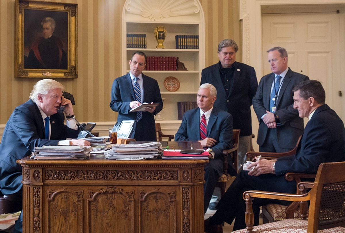Donald Trump; Reince Priebus; Mike Pence; Steve Bannon; Sean Spicer; Michael Flynn (Getty/Drew Angerer)