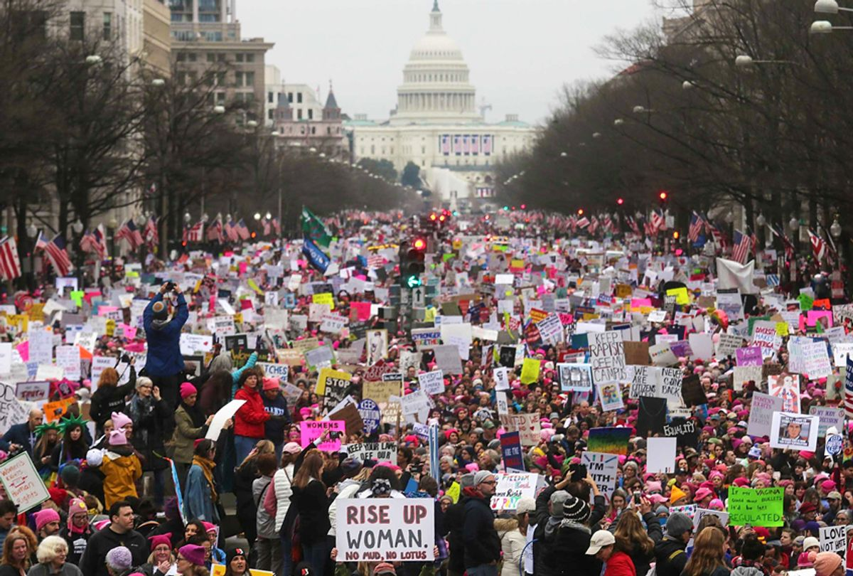 Protesters walk during the Women's March on Washington, January 21, 2017 (Getty/Mario Tama)