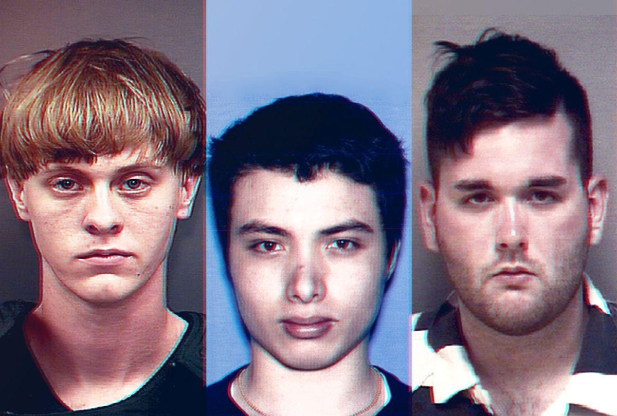 Dylann Roof; Elliot Rodger; James Alex Fields Jr. (AP/Charleston County Sheriff's Office/California DMV/Albemarle-Charlottesville Regional Jail)