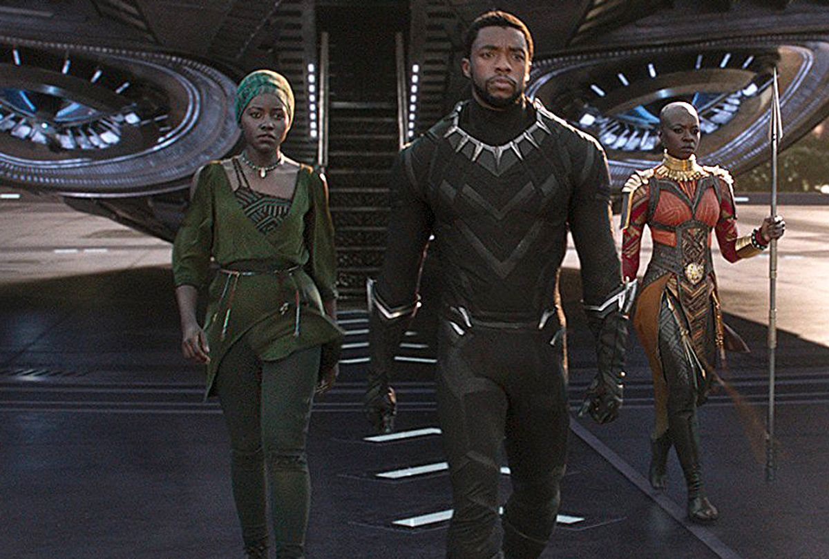 "Lupita Nyong'o, Chadwick Boseman, and Danai Gurira in ""Black Panther"" (Marvel Studios)"