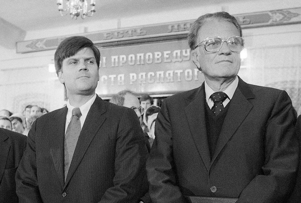 American evangelist Billy Graham and his eldest son, Franklin, at the Novosibirsk Baptist Church in Siberia in September 1984. (AP/Boris Yurchenko)
