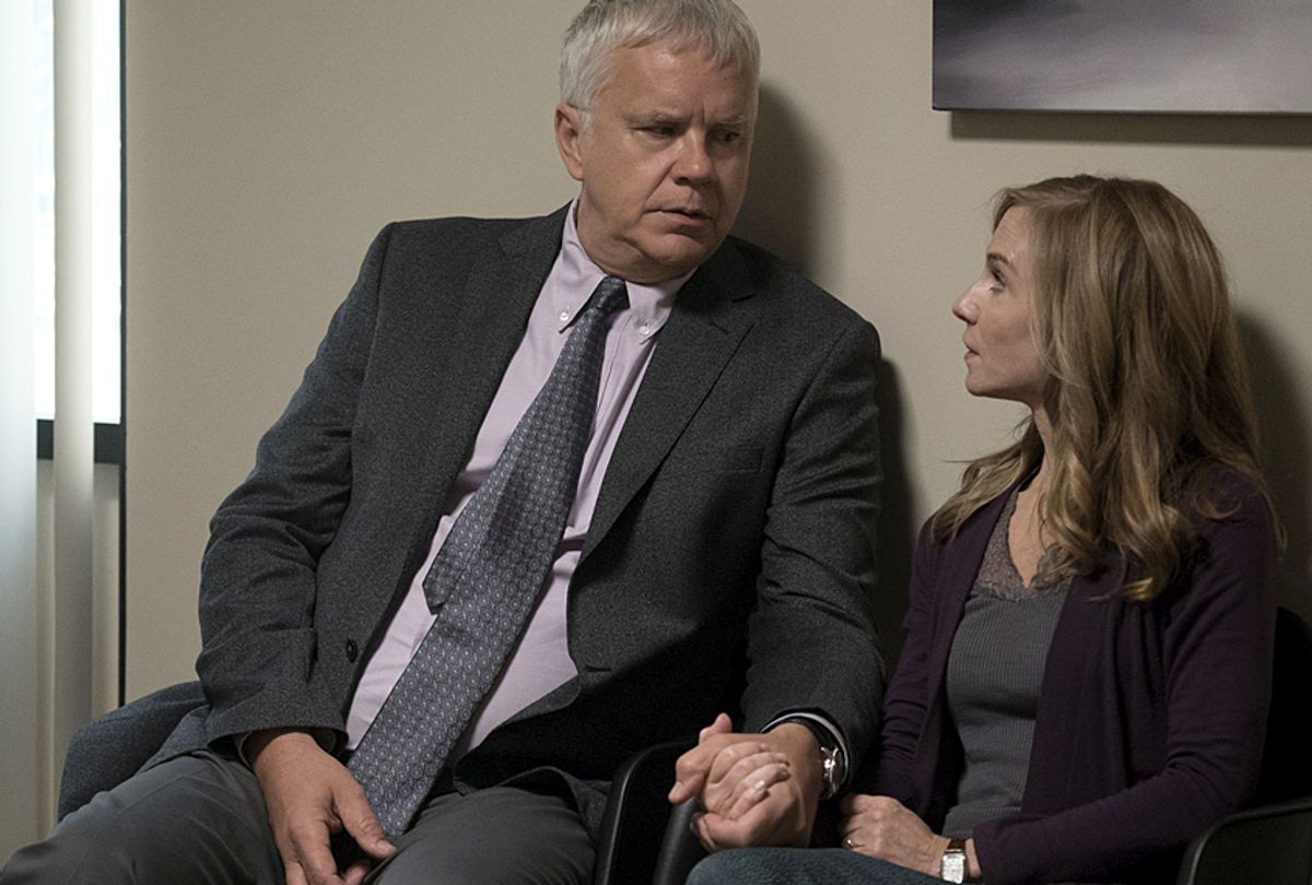 """Tim Robbins and Holly Hunter in """"Here and Now"""" (HBO/Ali Paige Goldstein)"""