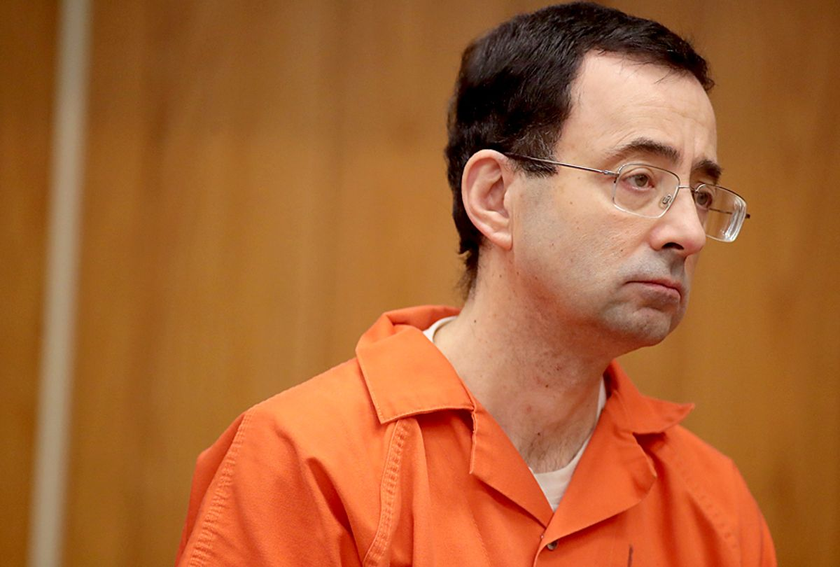 Larry Nassar stands as he is sentenced by Judge Janice Cunningham (Getty/Scott Olson)