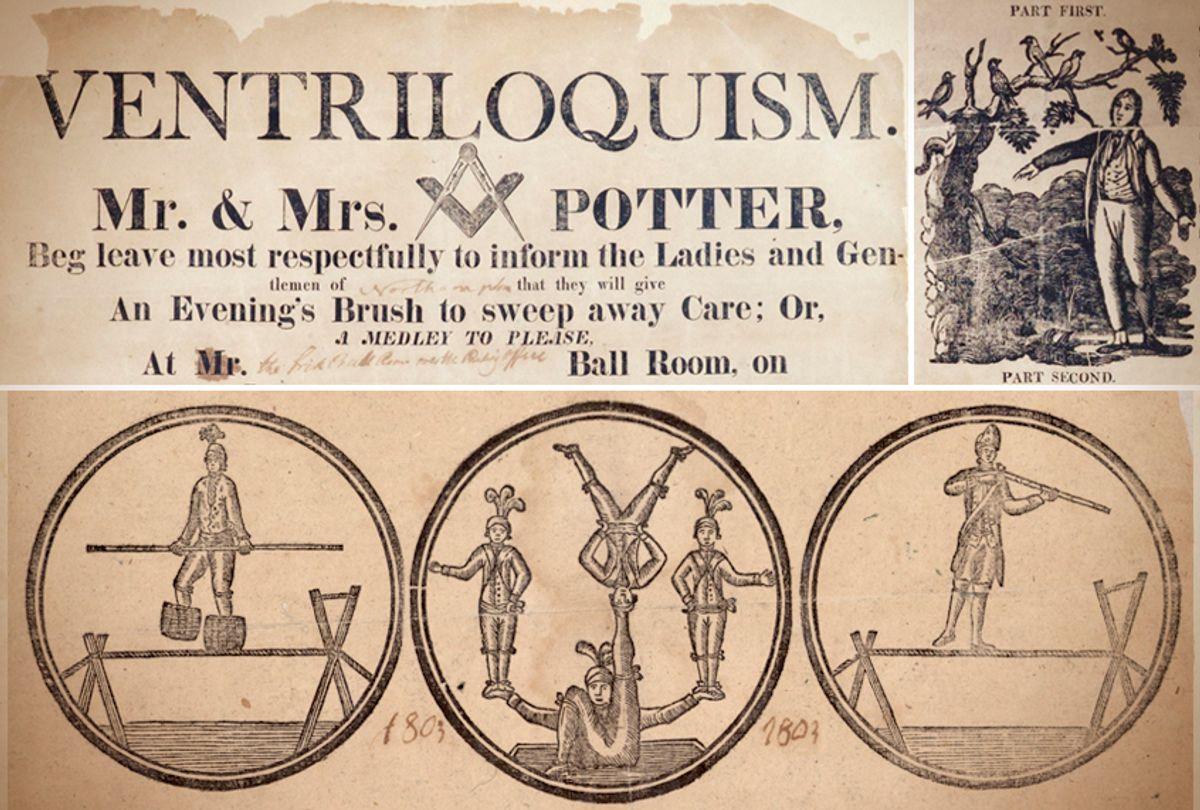 Details of broadsides advertising performances by Richard Potter and his mentor (Historic Northampton, Massachusetts/American Antiquarian Society)