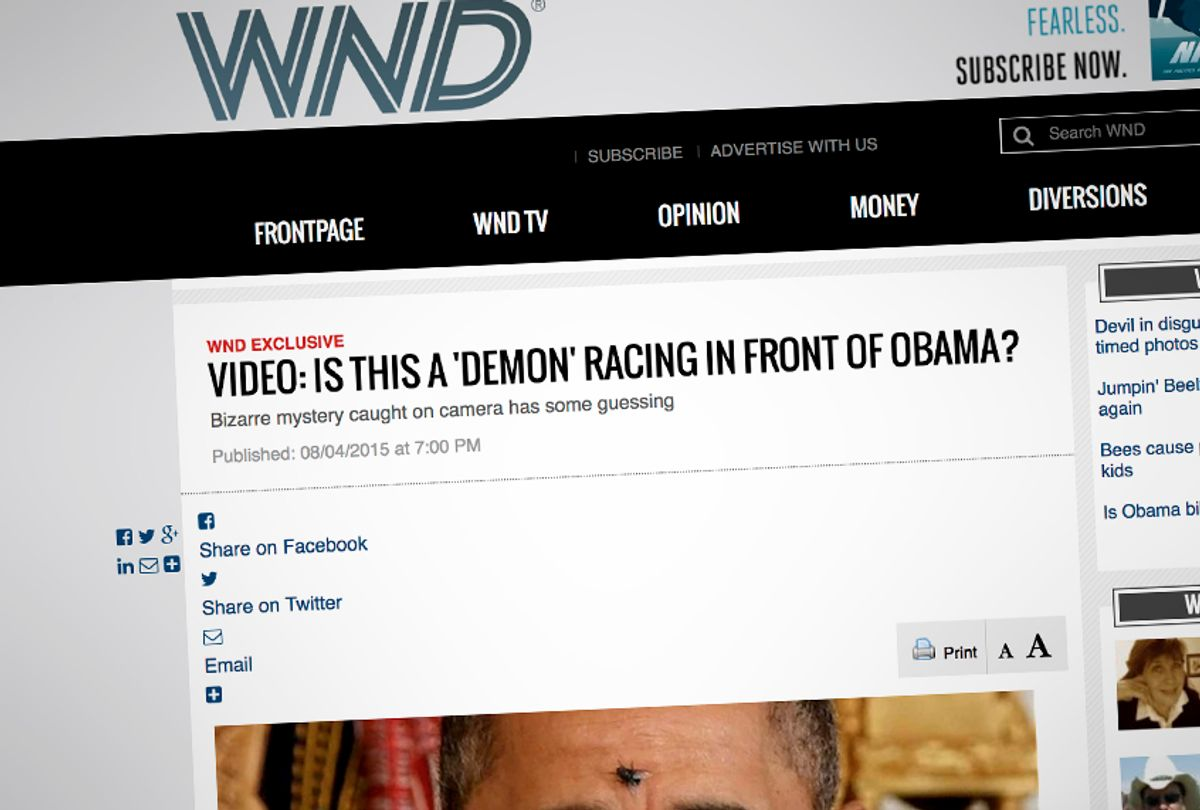 A screenshot from a 2015 article from WND.com promoting the idea that then-president Barack Obama might be demon-possessed. (wnd.com)