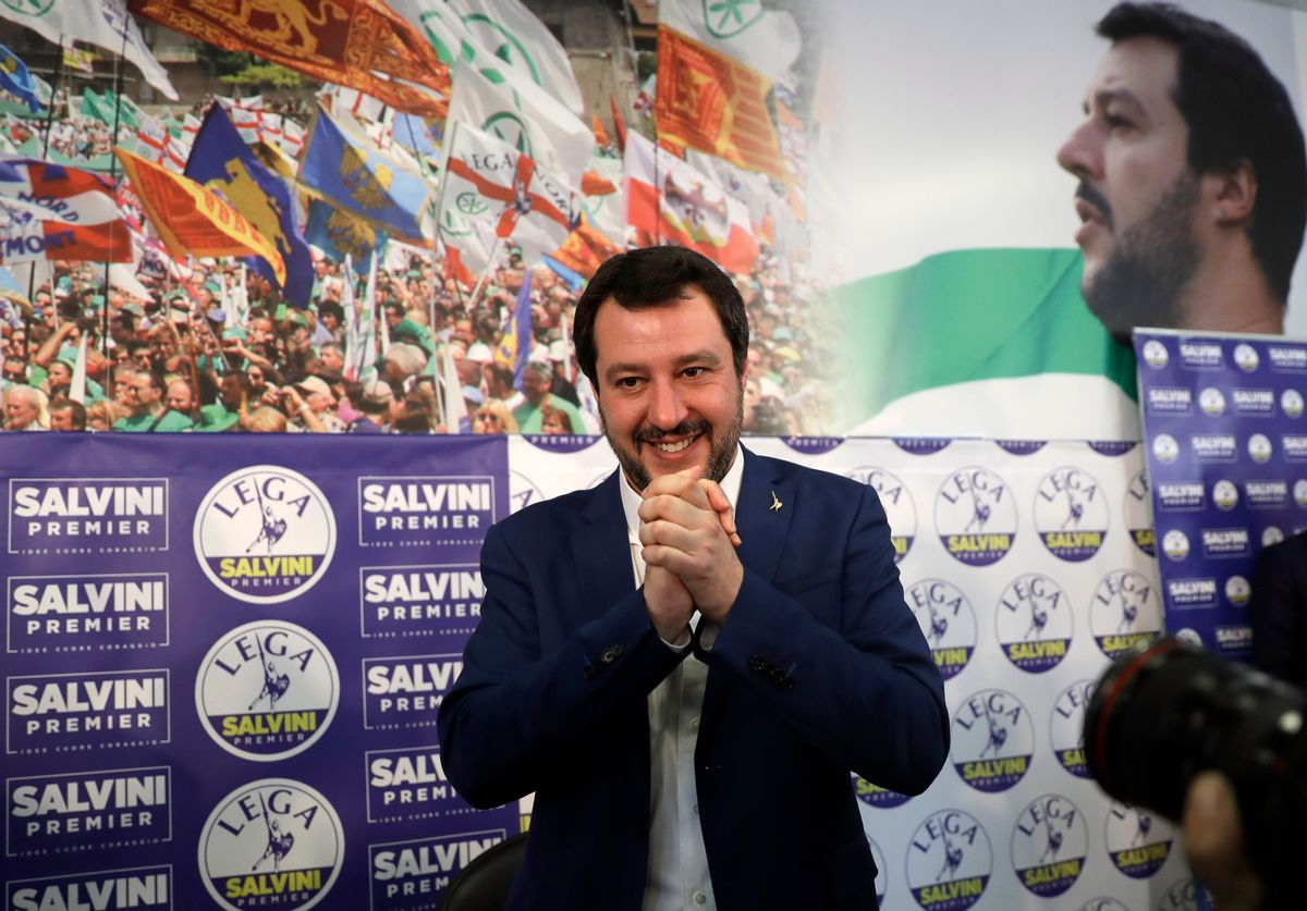 Right-wing, anti-immigrant and euroskeptic League's Matteo Salvini gives a press conference on the preliminary election results, in Milan, Monday, March 5, 2018. (AP Photo/Luca Bruno)