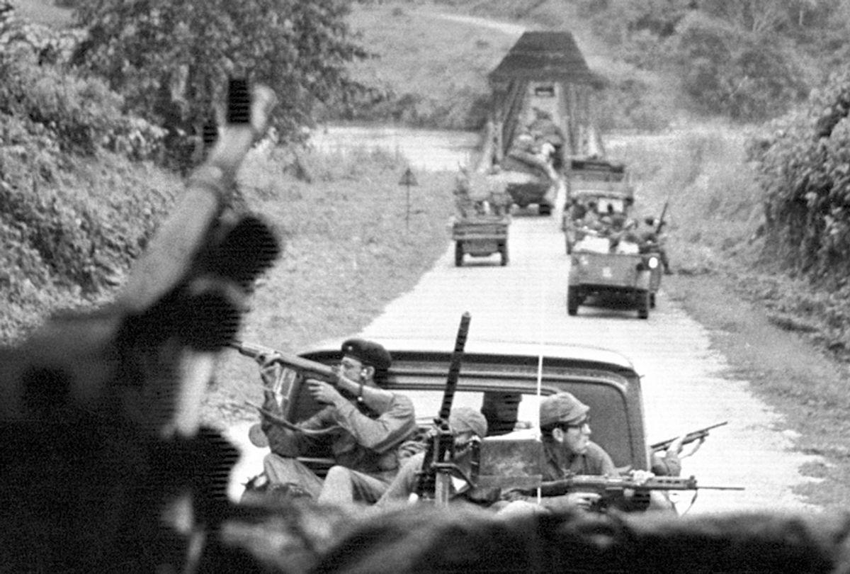The Congolese army and mercenary column advancing towards Stanleyville, Nov. 28, 1964. (AP/Mannock)