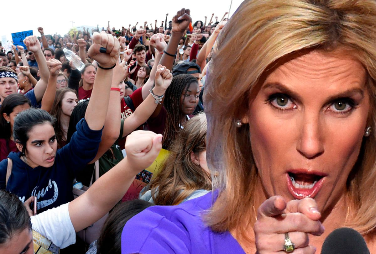 Laura Ingraham; Students of area High Schools rallying at Marjory Stoneman Douglas High School, February 21, 2018. (Getty/Photo montage by Salon)