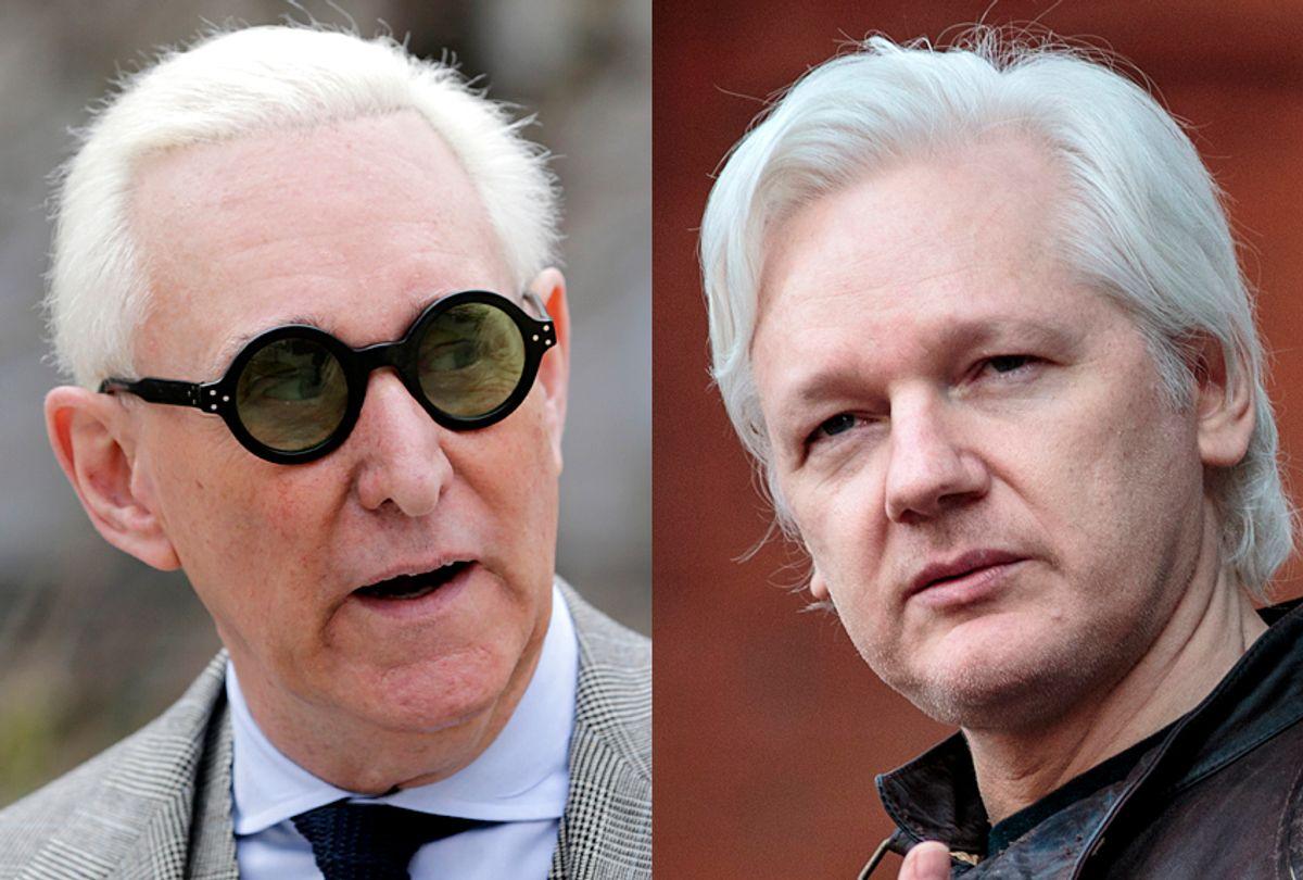 Roger Stone; Julian Assange (AP/Seth Wenig/Getty/Jack Taylor)