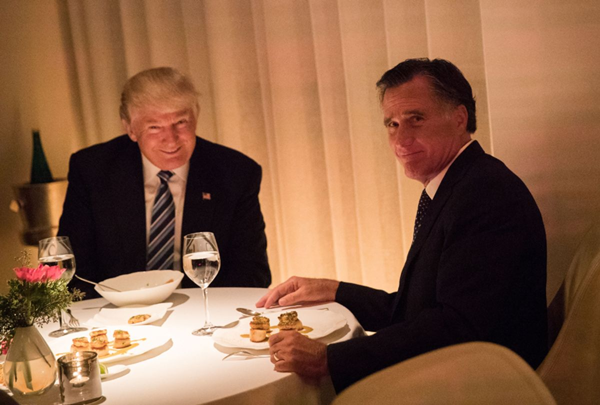 Donald Trump and Mitt Romney dine at Jean Georges restaurant, November 29, 2016 in New York City. (Getty/Drew Angerer)