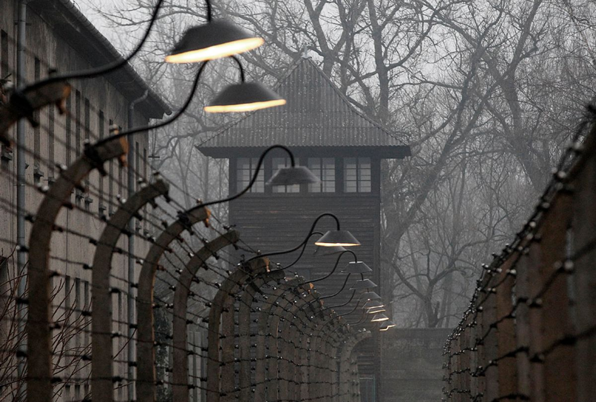 Barbed wire fences are pictured at the former Nazi German concentration and extermination camp Auschwitz. (AP/Czarek Sokolowski)