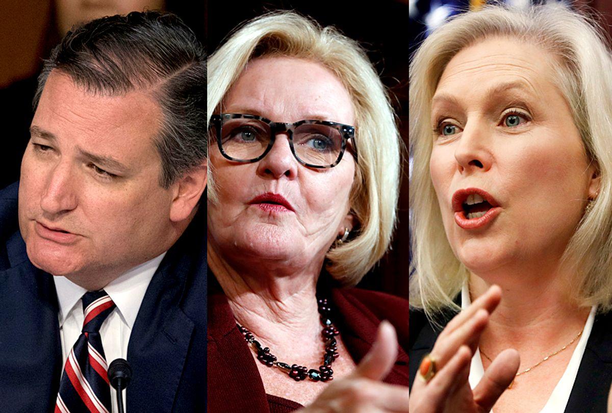 Ted Cruz; Claire McCaskill; Kirsten Gillibrand (AP/Andrew Harnik/Jacquelyn Martin)