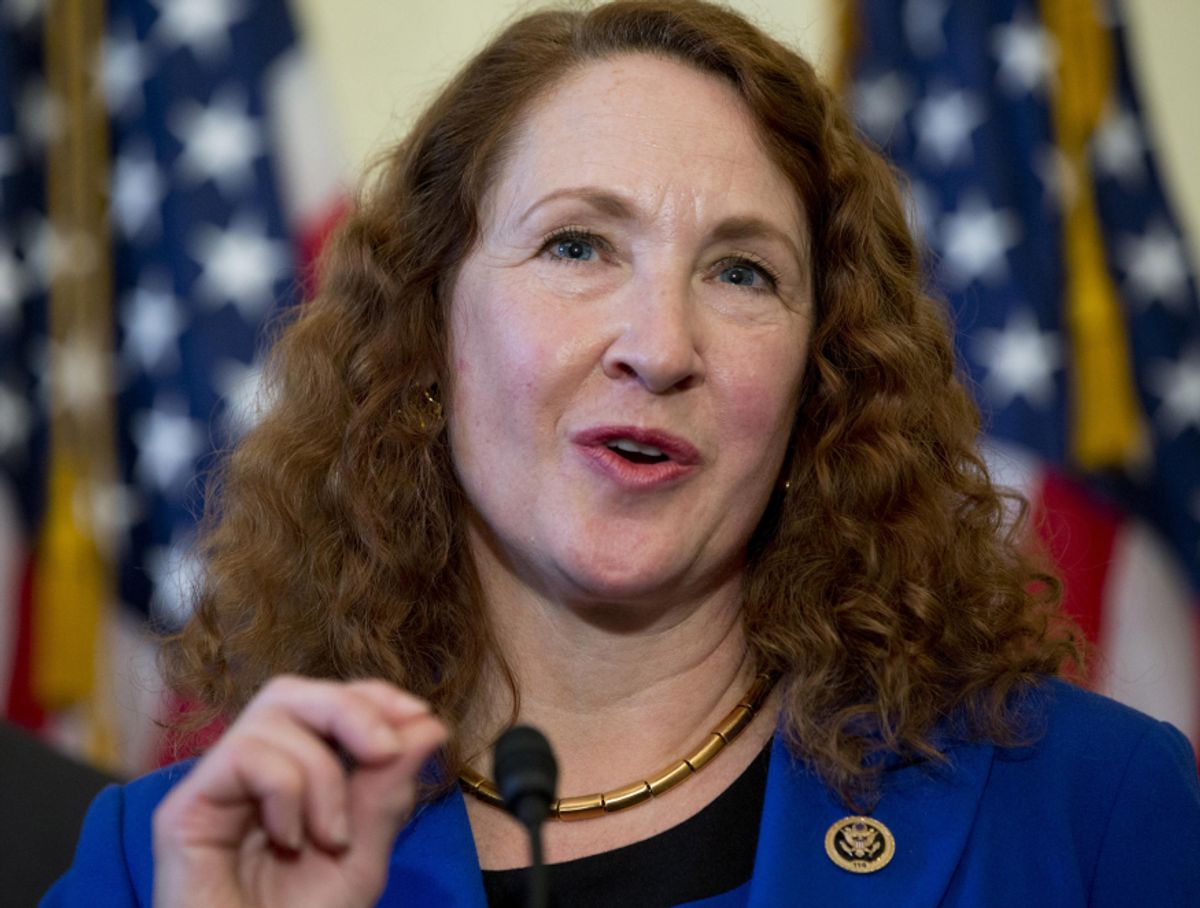 Rep. Elizabeth Esty, D-Conn. speaks on Capitol Hill in Washington, Wednesday, March 4, 2015, about bipartisan legislation on gun safety. Esty was joined by others at the news conference including former Arizona Rep. Gabby Giffords, who returned to Capitol Hill to join forces with advocates of expanded criminal background checks on all commercial firearms sales. The measure is considered a longshot because of opposition by the National Rifle Association. Giffords was shot in the head during a 2011 rampage in Arizona that left six people dead and a dozen others wounded. (AP Photo/Carolyn Kaster) (AP)