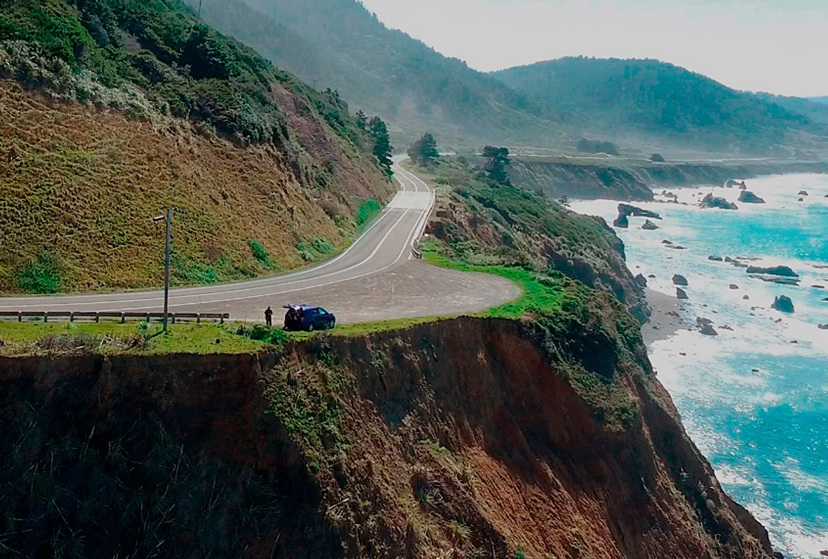 The pullout where the SUV of Jennifer and Sarah Hart was recovered off the off Pacific Coast Highway 1, near Westport, Calif.  (AP/Alameda County Sheriff's Office)