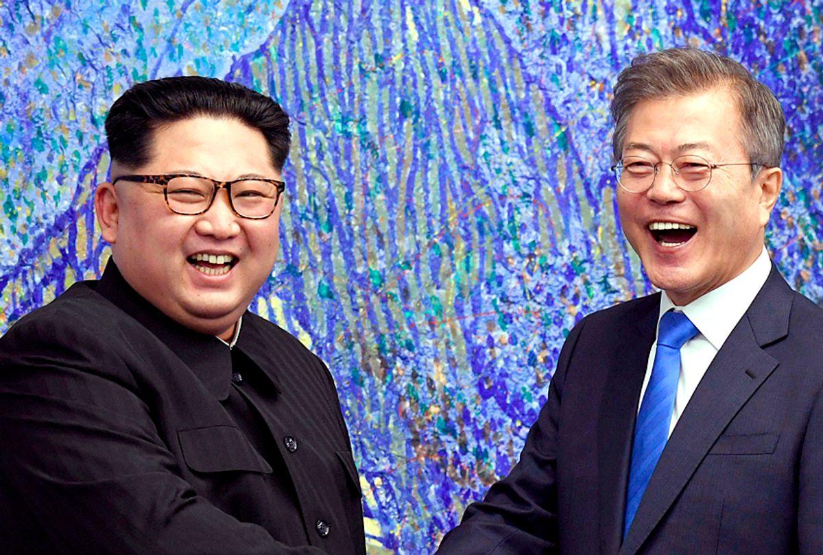 North Korean leader Kim Jong Un poses with South Korean President Moon Jae-in inside the Peace House at the border village of Panmunjom in Demilitarized Zone, April 27, 2018. (Korea Summit Press Pool via AP)