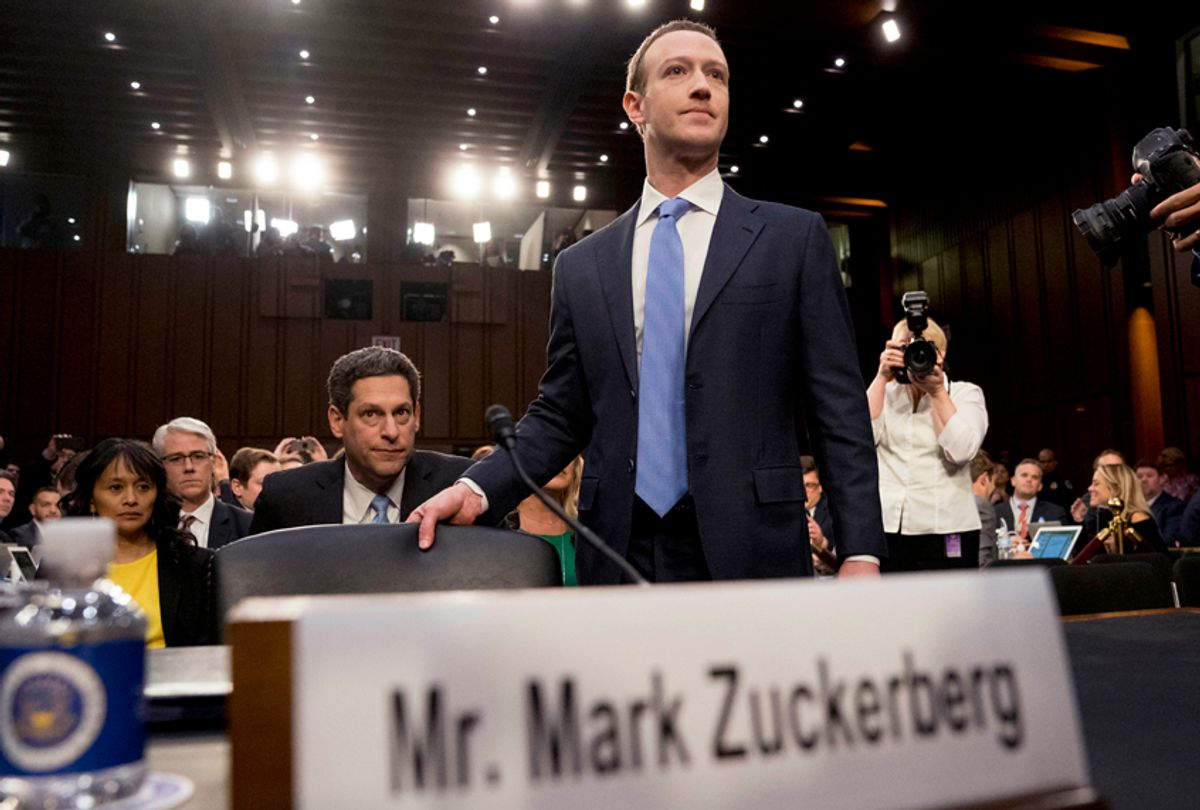 Mark Zuckerberg arrives to testify before a joint hearing of the Commerce and Judiciary Committees on Capitol Hill, April 10, 2018. (AP/Andrew Harnik)